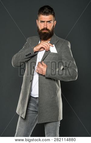Credit Card Gives You Freedom And Confidence. Man Bearded Hipster Hold Plastic Blank Card. Banking A