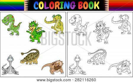 Coloring Book With A Dinosaur Cartoon Collection