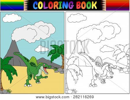 Coloring Book With A Spinosaurus Cartoon Illustration