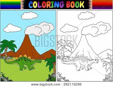 Coloring Book With A Cartoon Stegosaurus Illustration