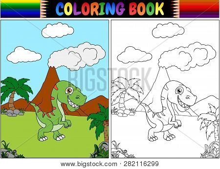Coloring Book With A Tyrannosaurus Cartoon Illustration