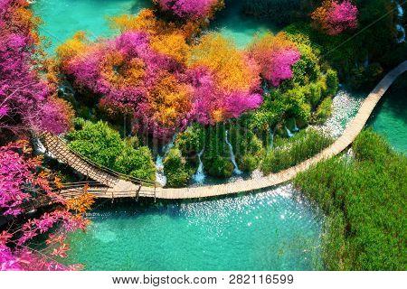 Beautiful Wooden Path In Plitvice Lake, Croatia.