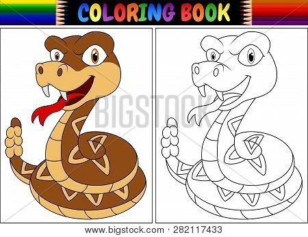 Coloring Book With Cartoon Of Rattlesnake Illustration