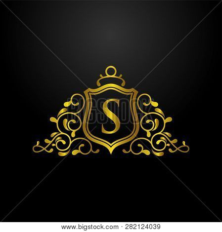 Luxury Shield Logo, Classic And Elegant Logo Designs For Industry And Business, Heraldic Logo ,crest