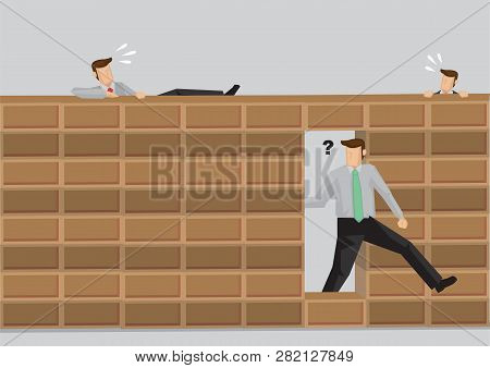 Smart Man Walking Through Hole In Brick Wall While Others Try To Climb Over Wall. Cartoon Vector Ill