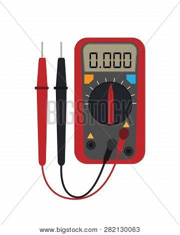 Digital Multimeter. Electrical Measuring Instrument: Voltage, Amperage, Ohmmeter, Power. Flat Style.