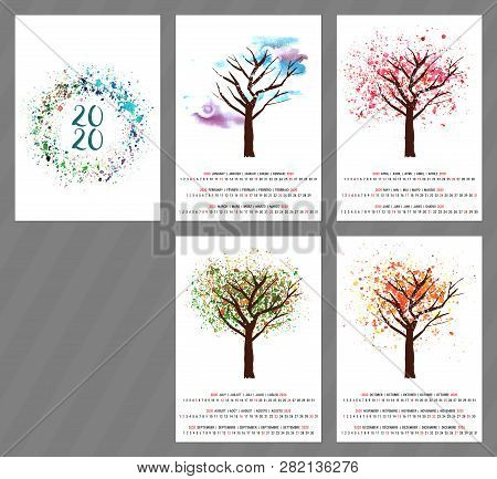 A Scalable Vector Calendar For The Year 2020 With A Watercolor And Vector Drawing Of A Tree Changing