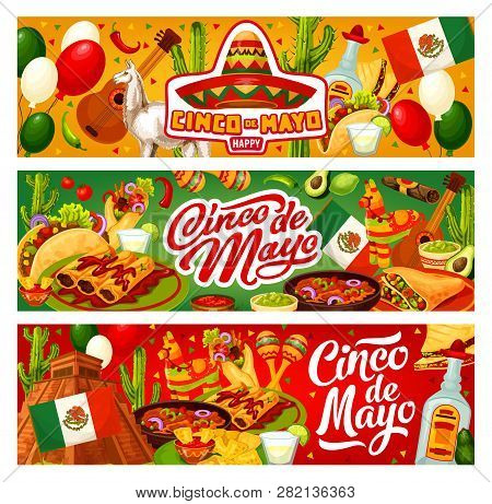 Cinco De Mayo Happy Holiday In Mexico And Traditional Fiesta Celebration. Vector Cinco De Mayo Party