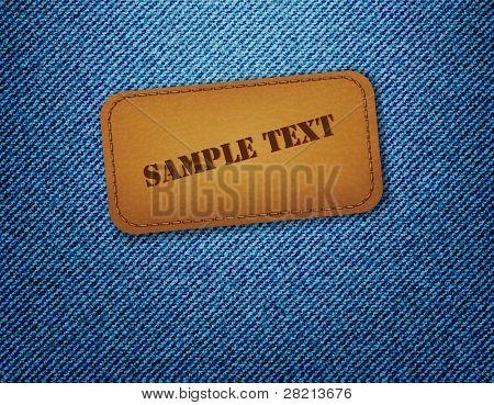 Leder Etikett auf Jeans Hintergrund. Vektor.