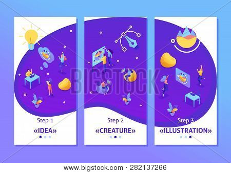 Isometric Template app creating ideas, employees develop the design. Teamwork of creative people, smartphone apps. Easy to edit and customize. poster