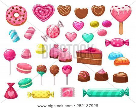Valentines Day Sweets Vector Icons Of Romantic Love Holiday Gifts. Chocolate Cake, Heart Shaped Cand