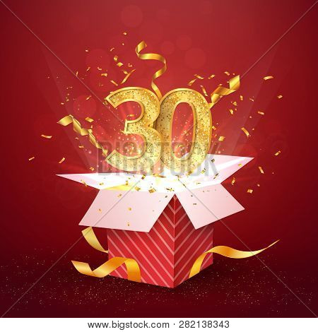 30 Th Years Number Anniversary And Open Gift Box With Explosions Confetti Isolated Design Element. T