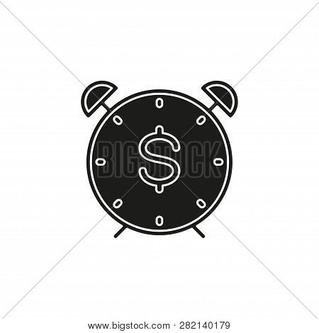 Time Dollar Icon, Time For Money Concept. Vector Dollar Sign. Flat Pictogram - Simple Icon