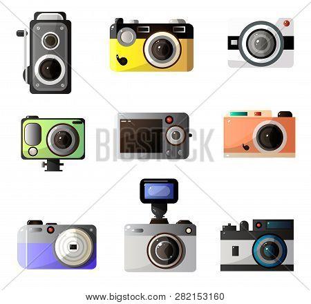Vintage And Modern Digital Photo Cameras Optical Equipment Set Vector Illustration