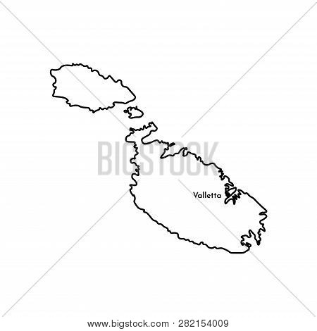 Vector Isolated Illustration Of Simplified Political Map Of South Europe State - Republic Of Malta.