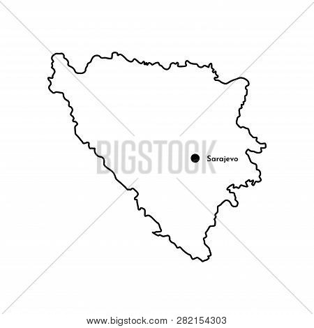 Vector Isolated Illustration Of Simplified Political Map Of South Europe State - Bosnia And Herzegov