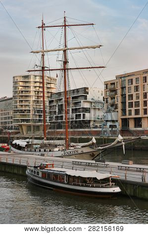 Hamburg, Germany - March 6, 2012: View To Downtown And Harbor With Sailing Ship J. R. Tolkien In 'ha