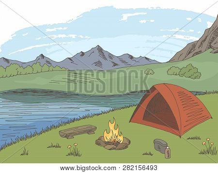 Camping Graphic Color Mountain Landscape Sketch Illustration Vector