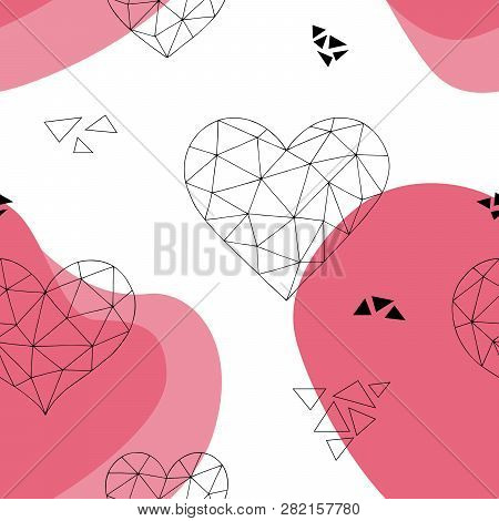 Heart Graphic Doodle Triangle Color Seamless Pattern Background Illustration Vector
