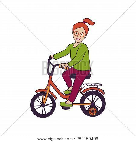 Vector Illustration With Smiling Little Girl In Eye Glasses Riding Bicycle With Stabilisers, Isolate