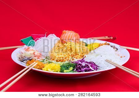 Serving Of Yee Sang Or Yusheng Believed To Bring Luck