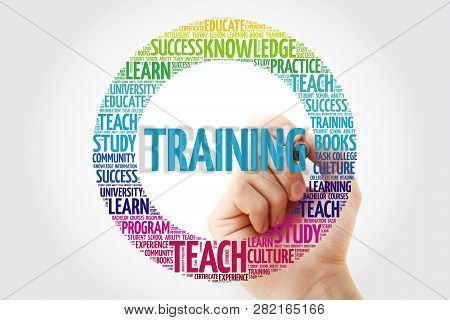 Training Word Cloud Collage With Marker, Education Concept Background