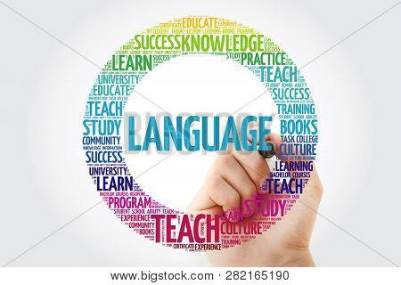 Language Word Cloud Collage With Marker, Education Concept Background