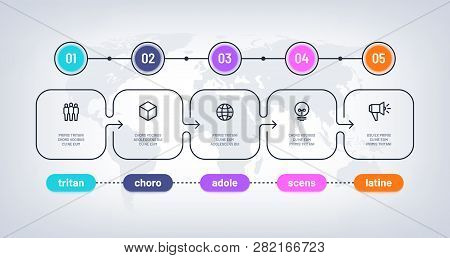 Business Flowchart. Timeline With Milestone Steps Pesentation History Chart. Infographic Optional Ve
