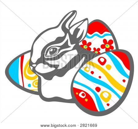 Cheerful rabbit and easter eggs isolated on a white background. Easter illustration. poster