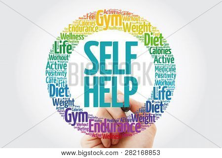 Self Help Word Cloud Collage With Marker, Health Concept Background