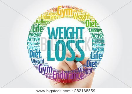 Weight Loss Word Cloud With Marker, Health Concept Background
