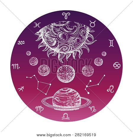 Color Hand Drawn Astrology Concept With Zodiac Signs And Planetary System Vector Illustration. Astro