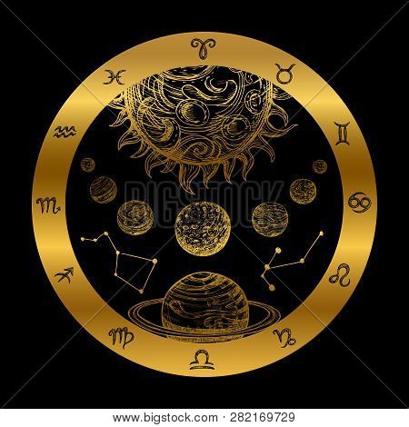 Golden Astrology Concept With Planets Isolated On Black Background. Golden Astrology Zodiac Icon, Pl
