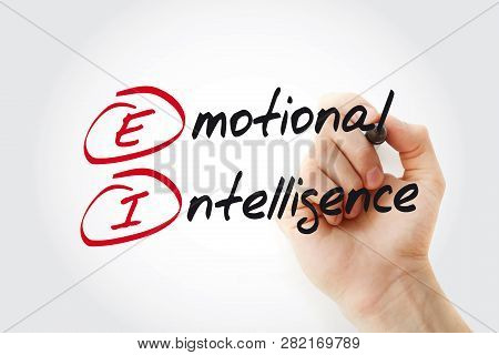 Hand Writing Ei - Emotional Intelligence With Marker, Acronym Business Concept