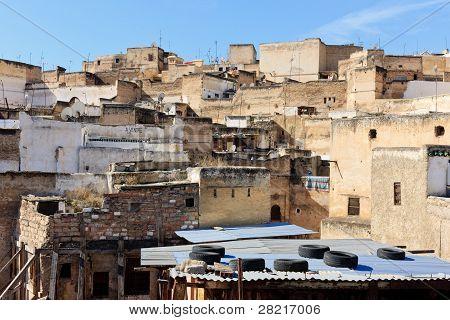 auf dem Dach Szene in Fes, Marokko