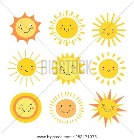 Sun Emoji. Funny Summer Sunshine, Sun Baby Happy Morning Emoticons. Cartoon Sunny Smiling Faces Vect