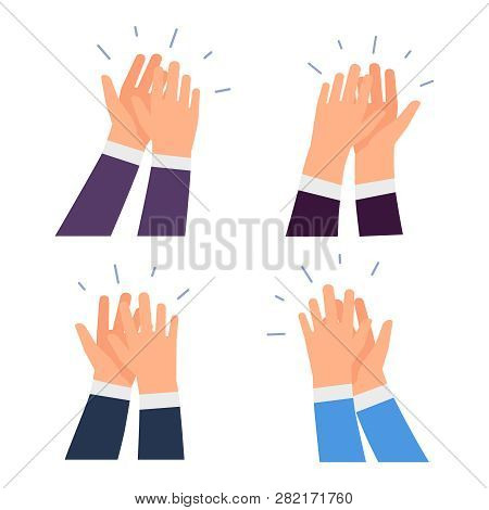 Flat Vector Clapping Hands Icons Isolated On White Background. Illustration Of Clap Hands, Business