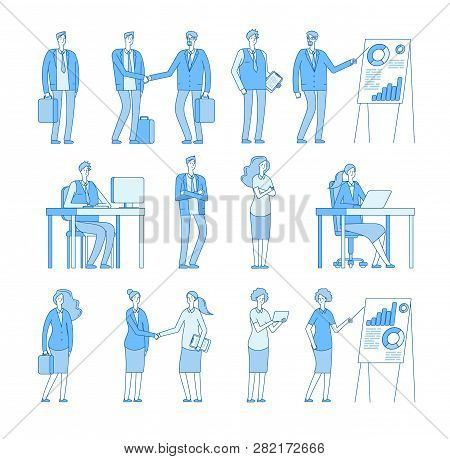 Business Line People Characters. Business Man Woman In Corporate Office, Professional People Vector