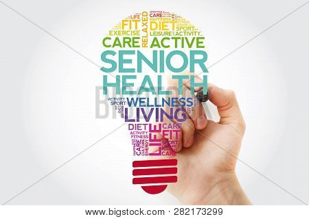 Senior Health Bulb Word Cloud With Marker, Health Concept