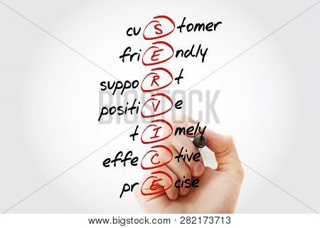 Service - Customer, Friendly, Support, Positive, Timely, Effective, Precise Acronym With Marker, Bus