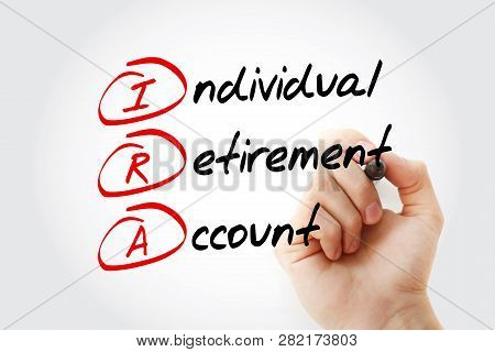 Ira - Individual Retirement Account Acronym With Marker, Concept Background