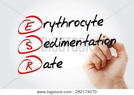 Esr - Erythrocyte Sedimentation Rate Acronym With Marker, Concept Background
