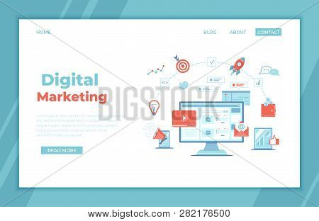 Digital Marketing Concept. Landing Page Template. Business Analysis, Targeting, Management. Social N