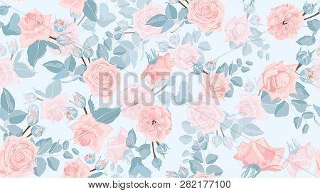 Pastel Floral Pattern, Vintage Pink Roses In Watercolor Style. Wedding Print, Retro Flowers Backgrou