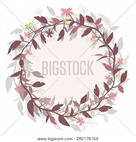 Round Frame Wreath. Vector Image Isolated From The Background. Eps 10