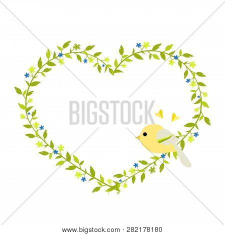 Gentle Green Heart-shaped Wreath With A Yellow Bird. Eps 10