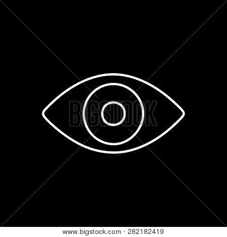 Flat Line Monochrome Eye Symbol For Web Sites And Apps. Minimal Simple Black And White Eye Symbol. I