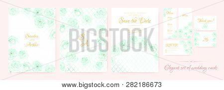 Floral Wedding Card, Fresh Invite Templates In Pastel Colors Design. Roses Flowers Border, Floral De