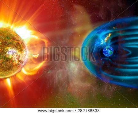 The Sun-earth Connection Space Weather. Blasts Of Perticles And Magnetic Field From The Sun Impact M