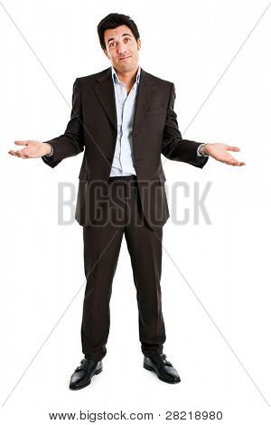 Sorry businessman isolated on white